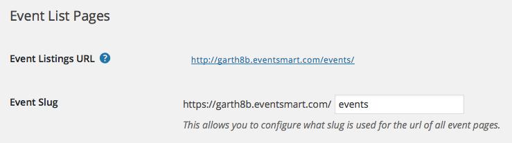 Event List URL Slug Address
