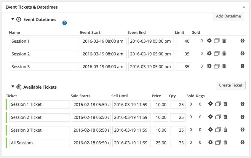 multiple datetimes per event