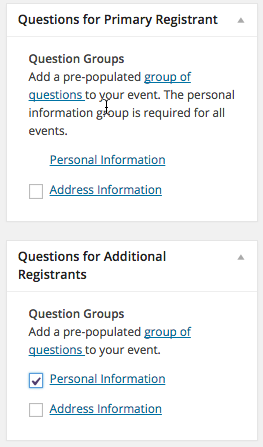 Online registration question groups