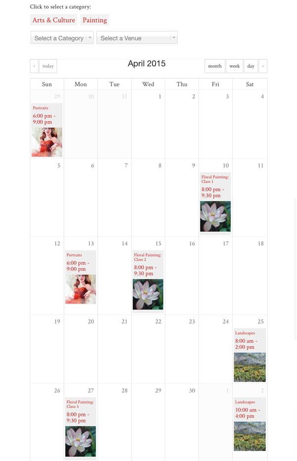 Art Class Calendar Online Registration Ticketing