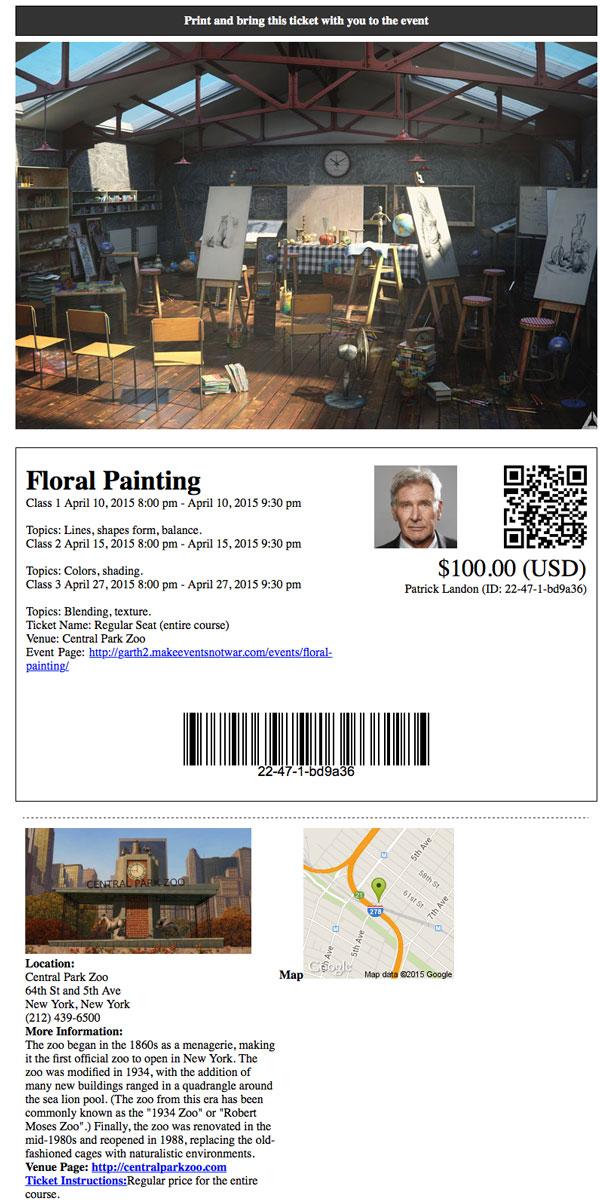 Art class online registration ticketing custom ticket
