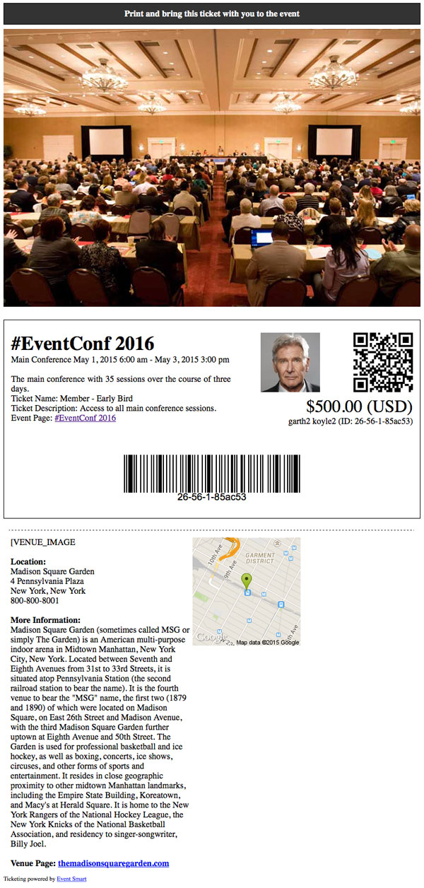 Business conference online registration ticketing custom ticket