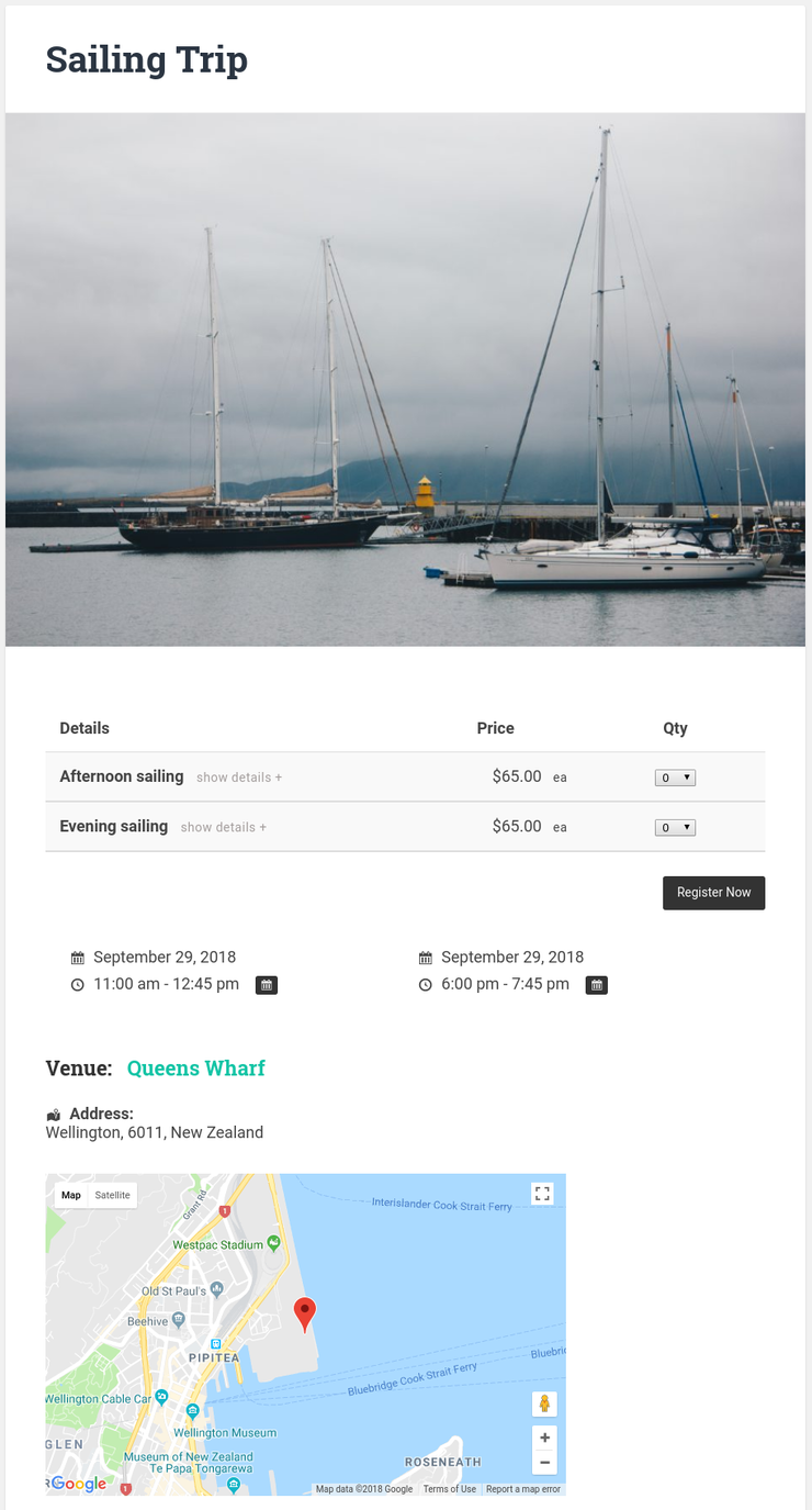 Collect online event registrations for your events in New