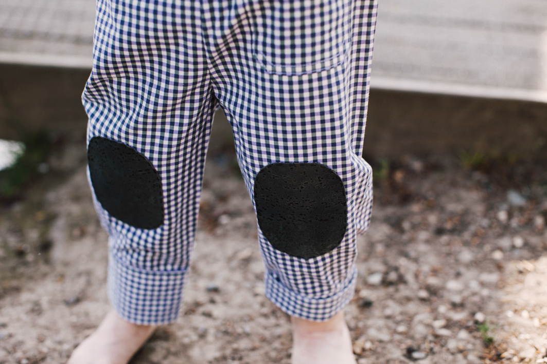 Children's trousers with blue cork patches