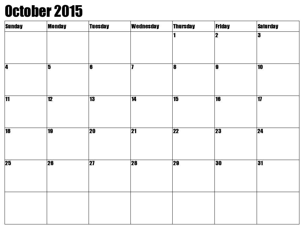 october 2015 calendar template
