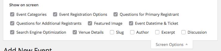 Event Smart Screen Options