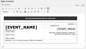 Online event registration ticket editor