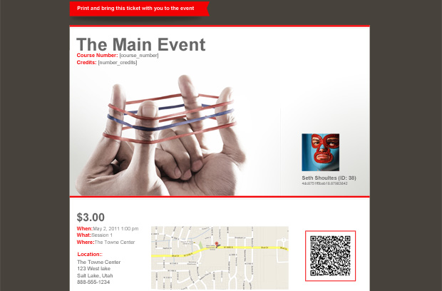 Fully customized event ticket