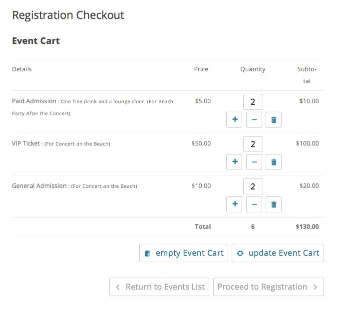 Multiple Event Registration Cart