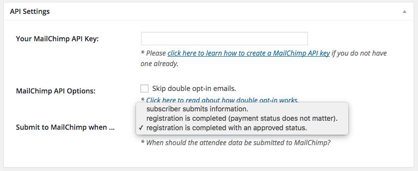 MailChimp API Default Settings