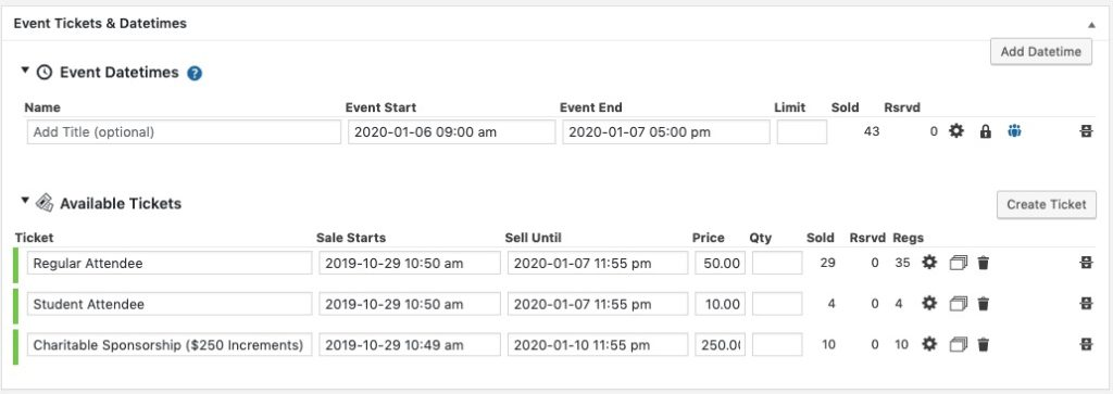Event Smart ticket management options